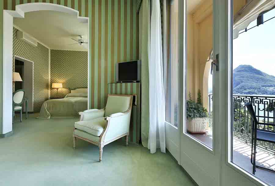 luxury hotel suite with full length windows