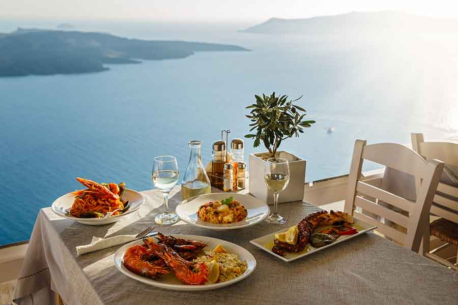 luxury seafood lunch by the sea